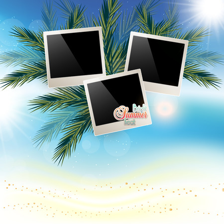 playfulness: Solar gierki day with photos onMarine abstract background with sand and place for photos. the Golden sand on palm leaves.