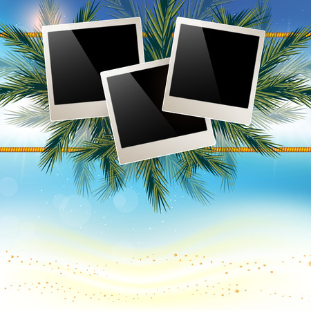 playfulness: Marine background with white sand and a place for your photos.