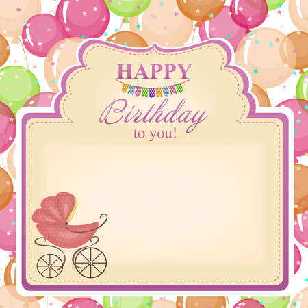 woman hanging toy: Childrens congratulatory background with a pink stroller.