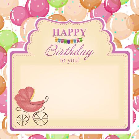congratulatory: Childrens congratulatory background with a pink stroller.
