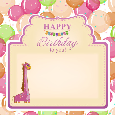 inflating: Childrens congratulatory background with a pink giraffe. Illustration