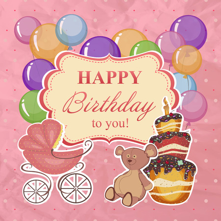 inflating: Childrens greeting background with birthday. Illustration