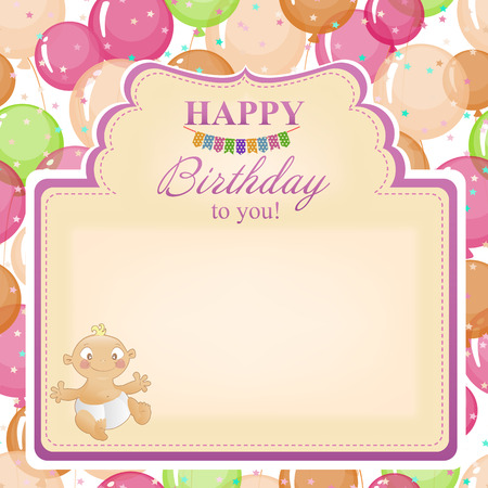 woman hanging toy: Childrens congratulatory background with a birthday for girls.