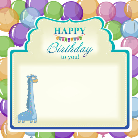 inflating: Childrens greeting background with blue giraffe. Illustration