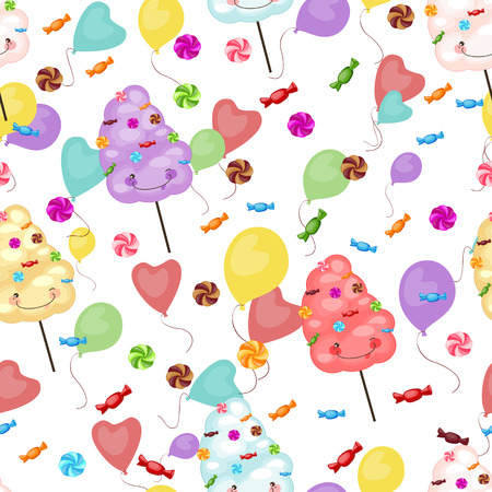 cotton candy: Seamless pattern of sweets, cotton candy, lollipops
