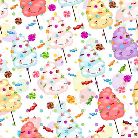 cotton candy: Regalo del beb� de fondo sin fisuras de algod�n de az�car, dulces y colorfu Vectores