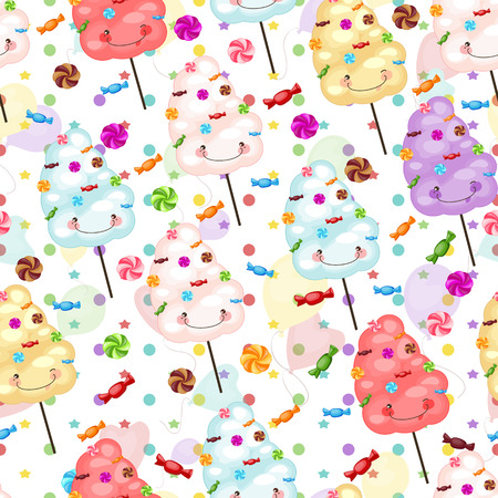 Baby gift seamless background of cotton candy, candy and colorfu