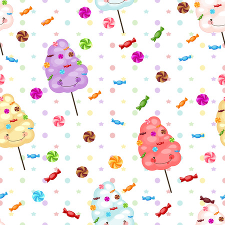 candy background: Seamless pattern of sweets, cotton candy, lollipops.