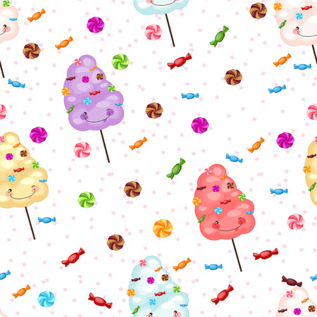 lollipops: Seamless pattern of sweets, cotton candy, lollipops, little star Illustration