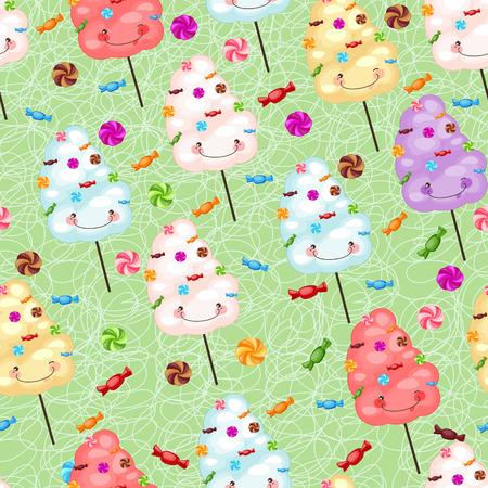 cotton candy: Childrens patr�n transparente de algod�n de az�car, dulces y colorfu Vectores