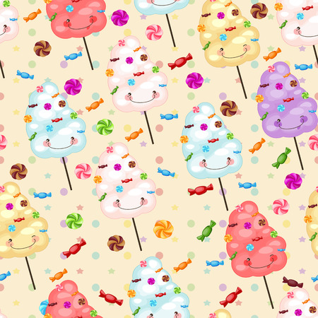 lollipops: Seamless pattern of sweets, cotton candy, lollipops