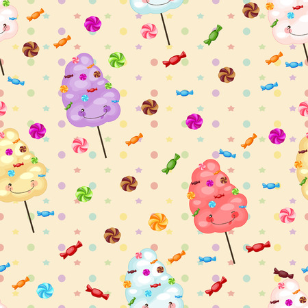 Seamless pattern of sweets, cotton candy, lollipops, little colored stars, circles. Baby gift seamless background of cotton candy, candy.