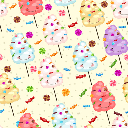 cotton candy: Childrens seamless pattern from cotton candy, candy and colorful stars on a yellow background. Seamless pattern of sweets, cotton candy, lollipops. Illustration