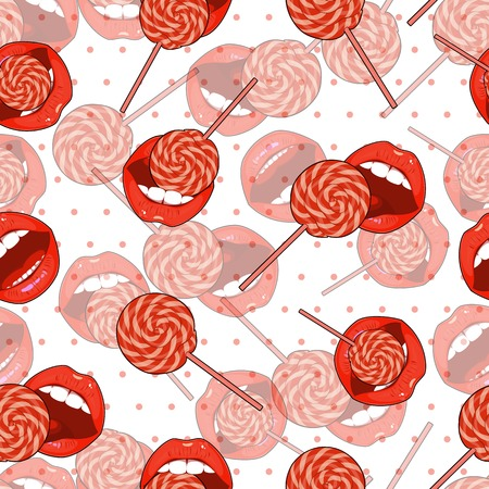 sexy tongue: Abstract seamless background of candy and lips. Illustration