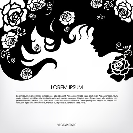 Silhouette of a girl with flowing hair buds blossoming