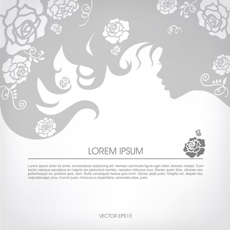 Abstract silhouette of a girl with flowing hair, curls of hair on a gray background.
