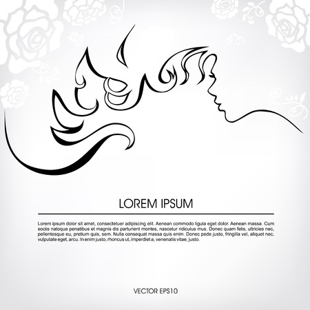 Abstract silhouette of a girl with flowing hair, with white flowers. Illustration