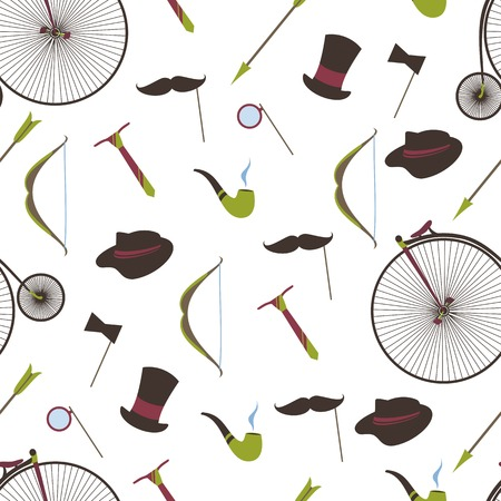mustaches: Bicycles, mustaches, ball, arrow, Smoking pipe, seamless backgro