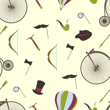 mustaches: Bicycles, mustaches, ball, arrow, seamless background.