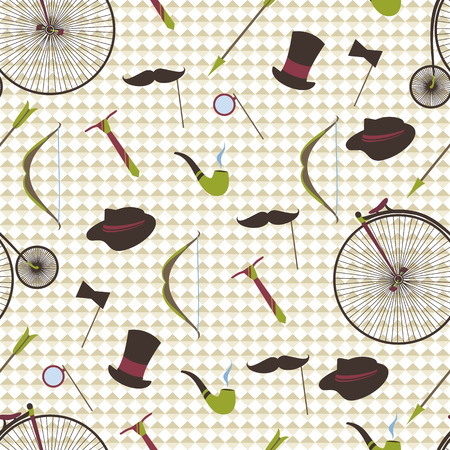 mustaches: Bicycles, mustaches, ball, arrow, abstract seamless background. Illustration