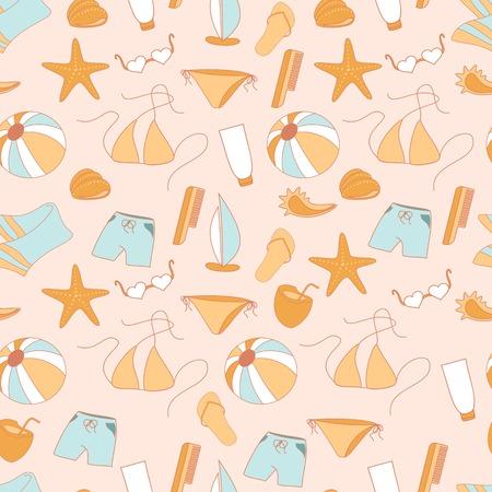 shorts: Seamless pattern summer collection of swimwear, shorts. Illustration