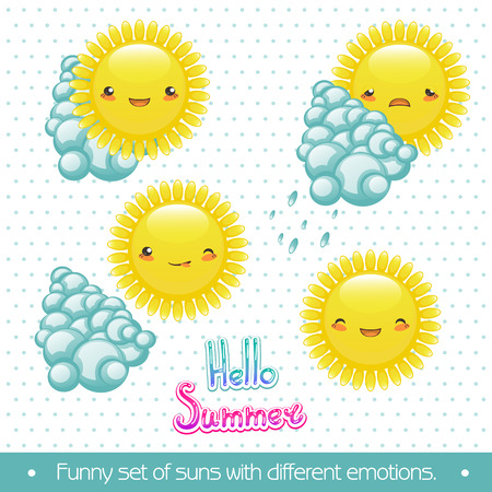 A fun set of cartoon sun and clouds with different emotions. Vector
