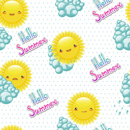 Seamless pattern of funny illustrations of the sun with differen Vector