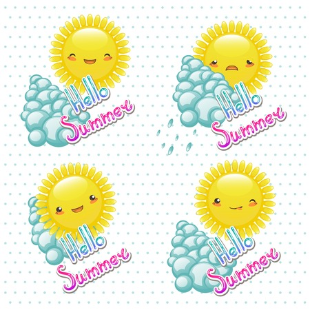 Vector illustration of set of funny cartoon sun with different e Vector
