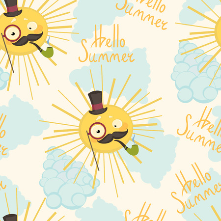 su: Vector illustration of a seamless background sun hipster. The su