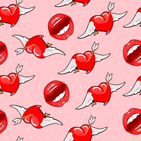 Vector illustration of pink seamless background bright lips with Ilustração