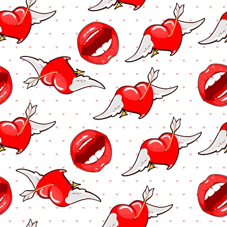 bri: Vector background of the lips and hearts.Seamless background bri