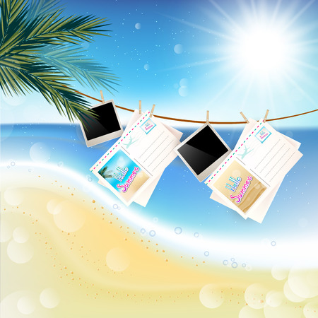 playfulness: Tropical Sunny summer day with hanging photos and letters on the