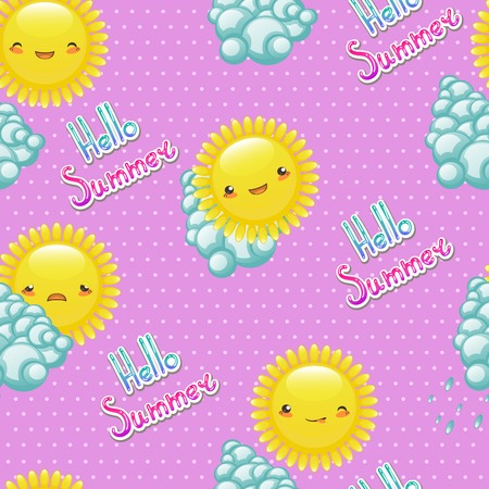 Seamless pattern of funny cartoon drawings of the sun with diffe Vector