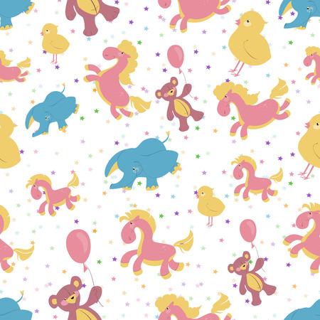 integral: Ni�os ilustraci�n de fondo sin fisuras con estrellas de color rosa, caballito de madera, oso de peluche en un globo, elefante azul, pollo.