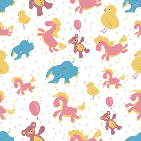 integral: Childrens illustration of a seamless background, pink rocking h