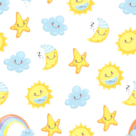 heavenly: Childrens illustration of a seamless background, heavenly stars
