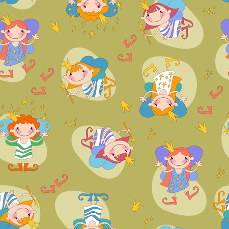 Seamless background vector illustration girls fairies on a white