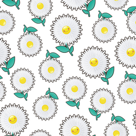 blossomed: Flower fields of white flowers.Jolly chamomile on seamless background.