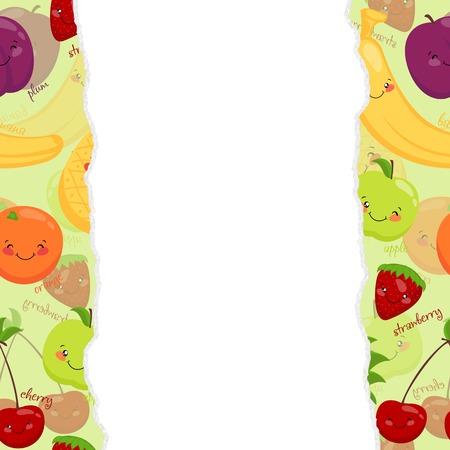 banana sheet: Vector image of funny muzzles fruit, juice, vitamins, vegetarian