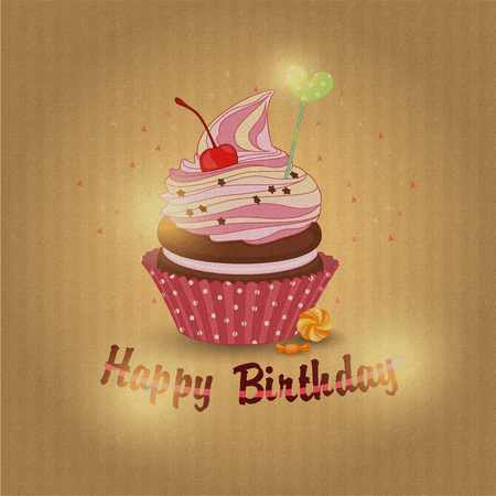 sweetness: Vector illustration of cupcake-the cupcake of the day of birth.