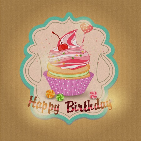 corrugated box: Vector illustration of cupcake birthday. Festive cupcake birthda Illustration