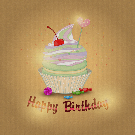 Illustration of a fruit cake for my birthday on textured backgro