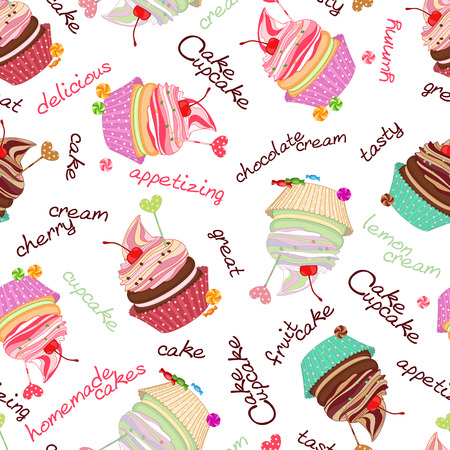 integral: Compound chocolate background from delicious cakes and cupcakes. Illustration