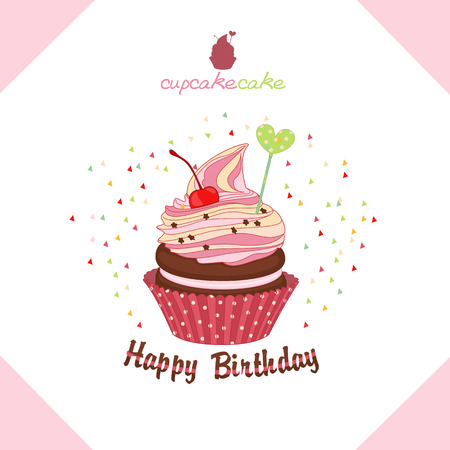 Vector illustration of set of cakes, cupcakes