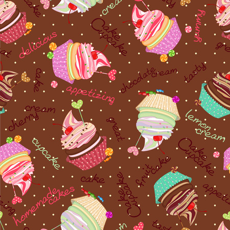 integral: Composite background of the delicious cakes and cupcakes. Seamle