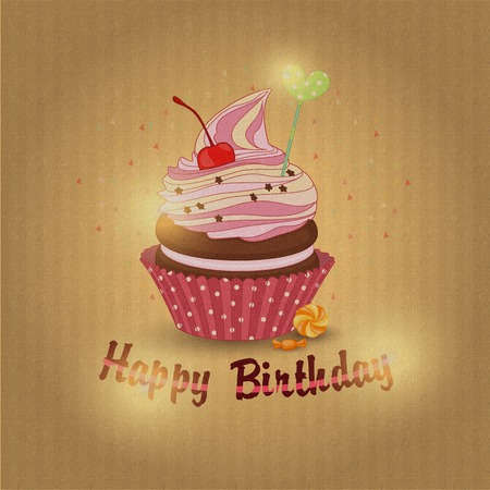 Vector illustration of cupcake-the cupcake of the day of birth.
