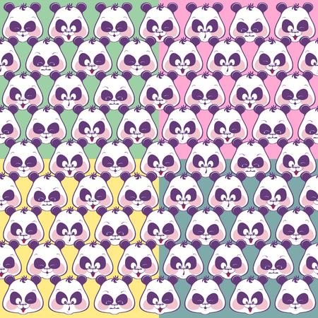 Seamless pattern of funny muzzles pandas. Illustration of funny Standard-Bild