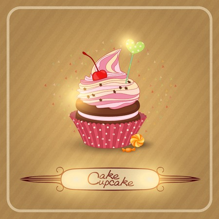 cupcake illustration: Vector illustration of cupcake-the cupcake of the day of birth.