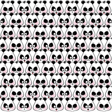 Seamless colored background of funny muzzles pandas. Illustratio