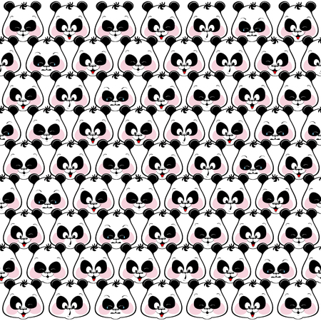 panda: Seamless colored background of funny muzzles pandas. Illustratio